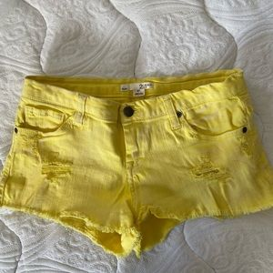 Distressed Yellow Denim Shorts